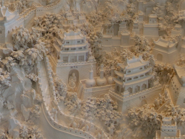 Mammoth Tusk Carving of the Great Wall of China – The